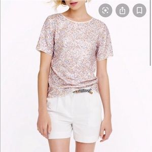 J.CREW cluster sequin in pink short sleeve blouse
